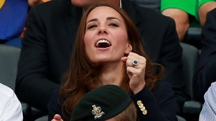 The Duchess cheers as she watched the athletics in Glasgow.