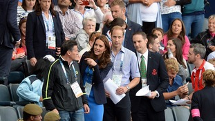 The Duke and Duchess of Cambridge arrive to watch the Athletics at Hampden Park, during the 2014 Commonwealth Games in Glasgow.