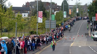Crowds queue to get into Hampden Park at the weekend.