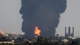 Smoke rises in the central Gaza Strip this morning.