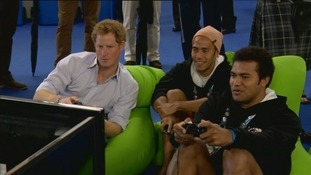 Prince Harry played video games in the athletes' village.