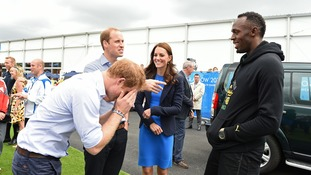 The Jamaican sprinting star seemed to enjoy his encounter with the royals.