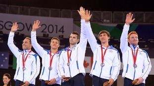 Scotland's silver medal winning men's gymnastics team.
