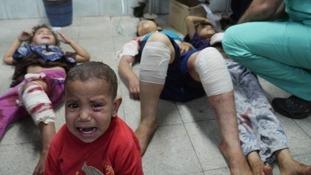 ITV News saw children in distress after a shell hit a UN school in Beit Hanoun last week.