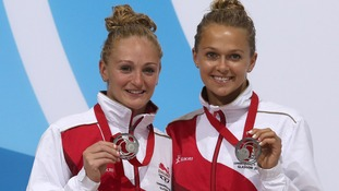 Tonia Couch (right) and Sarah Barrow with their silver medals after the Women's Synchronised 10m Platform Diving Final