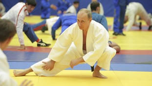 Prime Minister Putin taking part in a judo training session at the Moscow sports complex St Petersburg in 2010.