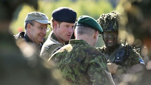Prince Harry meets Estonian troops in Sangaste in May.