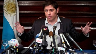 Argentina's economy minister Axel Kicillof speaks to the media at a press conference at the Argentine Consulate in New York on Wednesday.