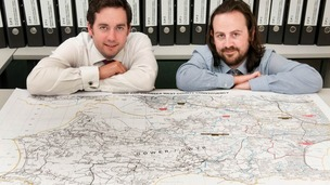 Ben Whitestone and Matt Redmond with map of proposed Swansea West & Gower constituency