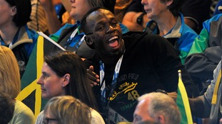 Jamaica's Usain Bolt watches the netball match between Jamaica and New Zealand at the SECC, during the 2014 Commonwealth Games in Glasgow.