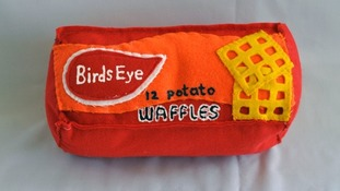 Felt version of Birds Eye potato waffles