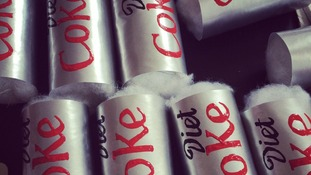 Felt diet coke cans taking shape