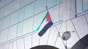 Palestinian flag outside Tower Hamlets town hall