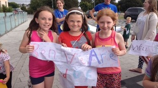 Youngsters gather at Plymouth's Life Centre to welcome home Ben Proud