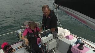 Natasha Lambert sailing her yacht, Miss Isle