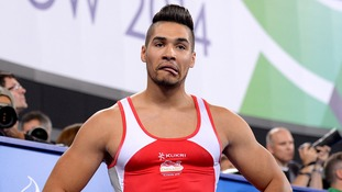 England's Louis Smith after his pommel horse routine at the Commonwealth Games.