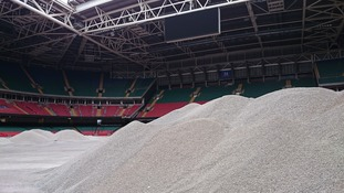 Piles of gravel Millennium Stadium