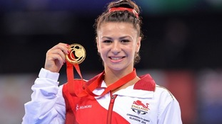 England's Claudia Fragapane with her Gold after victory in the women's vault.