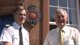 Chief Constable Jerry Graham pictured with Police and Crime Commissioner Richard Rhodes (left)