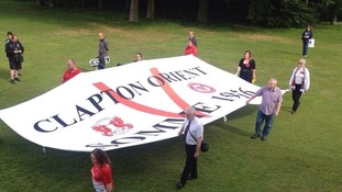 Fans parade a special Somme banner