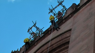 Abseilers at Liverpool's Anglican cathedral