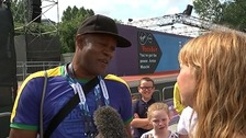 Usain Bolts' father Wellesley speaking to ITV News Scotland Correspondent Debi Edward