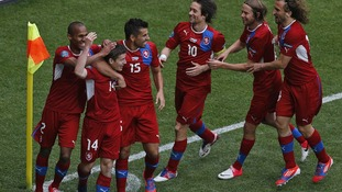 Czech Republic players celebrate their second goal in 2-1 win against Greece.
