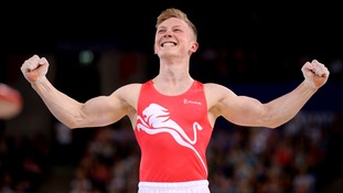 England's Nile Wilson who won gold in the horizontal bars final.