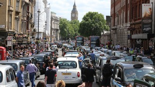 Black cab and licensed taxi drivers protested over the app in June.