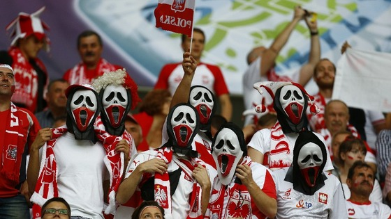 Poland fans in haunting fancy dress.