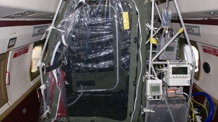 Plane equipped with isolation gear