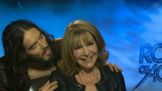 Russell Brand brought along his mum to an interview while promoting his new film.