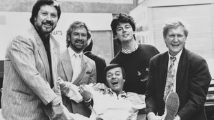 Smith, far right, with his former Radio 1 colleagues including close friend Noel Edmonds, second left, in the eighties.