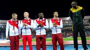 Usain Bolt and England silver medallists Danny Talbot, Richard Kilty, Harry Aikines-Aryeetey and Adam Gemili.