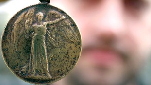 The medal was found in a garden shed in Rugby, Warwickshire