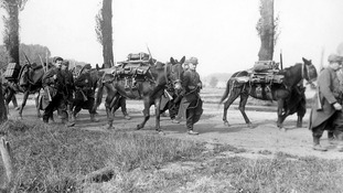 French troops leaving Furnes in Belgium in 1914.