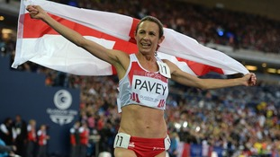 Jo Pavey celebrates finishing third in the Women's 5000m Final