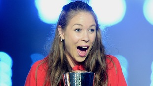 Welsh gymnast Francesca Jones looks stunned to receive the David Dixon award.