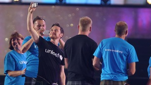 James McAvoy (left) and Sir Chris Hoy (centre) at the 2014 Commonwealth Games Opening Ceremony.