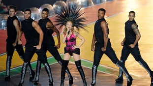 Kylie's backing dancers helped her put on a spectacular show.