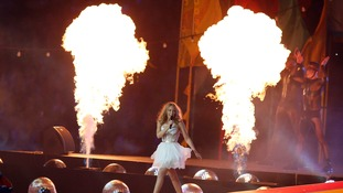 Fire lit up the stage at Glasgow's Hampden Park Stadium.