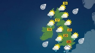 Temperatures will reach a high of 24C in the south.