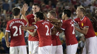 Manchester United players celebrate the victory over the Los Angeles Galaxy during the friendly match at the Rose Bowl stadium in Pasadena, California, USA, 23 July 2014