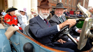 Prince and Princess Michael of Kent on board a 1913 Rolls Royce