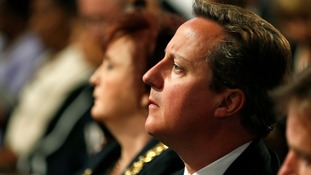 David Cameron during a World War One service today.