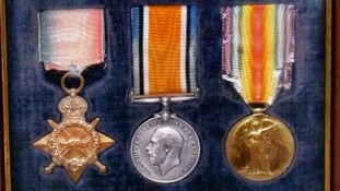 Captain Francis Mount's medals from the First World War, which are still within the family.