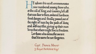 The memorial scroll commemorates Captain Francis Mount following his death.