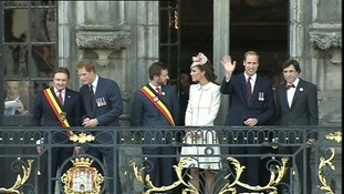 Prince Harry and the Duchess and Duke of Cambridge in Mons today
