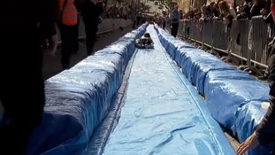 Thousands of people turned out to see Bristol's giant waterslide