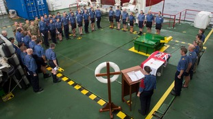 LMA Kirsty Roach leads Protectors Ships Company in their service and prayers on HMS Protector.